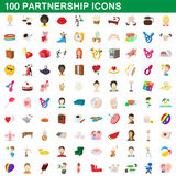 100 partnership icons set, cartoon style Stock Photos