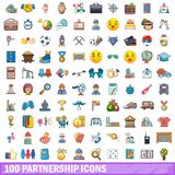 100 partnership icons set, cartoon style. 100 partnership icons set. Cartoon illustration of 100 partnership vector icons isolated on white background Stock Photo