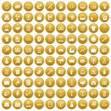 100 partnership icons set gold. 100 partnership icons set in gold circle isolated on white vector illustration Royalty Free Stock Photography