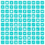 100 partnership icons set grunge blue. 100 partnership icons set in grunge style blue color isolated on white background vector illustration Royalty Free Stock Images