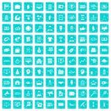 100 partnership icons set grunge blue Royalty Free Stock Images