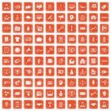 100 partnership icons set grunge orange. 100 partnership icons set in grunge style orange color isolated on white background vector illustration Stock Image