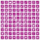 100 partnership icons set grunge pink. 100 partnership icons set in grunge style pink color isolated on white background vector illustration Royalty Free Stock Image