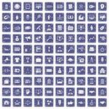 100 partnership icons set grunge sapphire. 100 partnership icons set in grunge style sapphire color isolated on white background vector illustration Royalty Free Stock Images