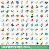 100 partnership icons set, isometric 3d style Stock Photography