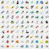 100 partnership icons set, isometric 3d style Royalty Free Stock Photography