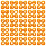 100 partnership icons set orange. 100 partnership icons set in orange circle isolated on white vector illustration vector illustration