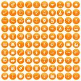 100 partnership icons set orange. 100 partnership icons set in orange circle isolated on white vector illustration Stock Image