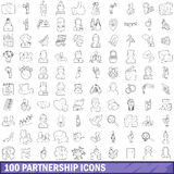 100 partnership icons set, outline style. 100 partnership icons set in outline style for any design vector illustration Stock Photography