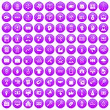100 partnership icons set purple. 100 partnership icons set in purple circle isolated on white vector illustration vector illustration