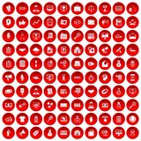 100 partnership icons set red. 100 partnership icons set in red circle isolated on white vector illustration Royalty Free Stock Photos