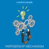 Partnership idea mechanism handshake flat 3d isometric vector Stock Photo