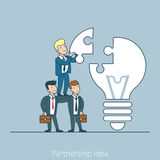 Partnership Idea team work Flat line art business Stock Photos