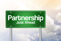 Partnership Just Ahead Green Road Sign Stock Images