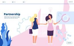 Partnership landing. Corporate plan partnership leader companies business agreement strategy startup cooperation vector stock illustration