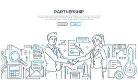 Partnership - modern line design style illustration. On white background with place for your text. Two young businessmen shaking hands, making an agreement Royalty Free Illustration