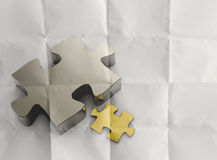 Partnership Puzzle with crumpled recycle paper background as co Royalty Free Stock Photo