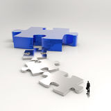 Partnership Puzzle metal 3d Stock Images