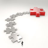 Partnership Puzzle metal 3d and businessman. Icon as concept Stock Photography