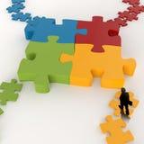 Partnership Puzzle metal 3d Royalty Free Stock Photos