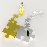 Partnership Puzzle metal 3d and businessman. Icon as concept Royalty Free Stock Images