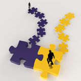 Partnership Puzzle metal 3d and businessman icon. As concept Royalty Free Stock Image
