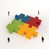 Partnership Puzzle metal 3d and businessman. Icons as concept Stock Image