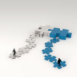 Partnership Puzzle metal 3d and businessman Stock Image