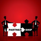 Partnership puzzle piece in hand Royalty Free Stock Photography