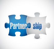 Partnership puzzle pieces concept illustration. Design over a white background Royalty Free Stock Image