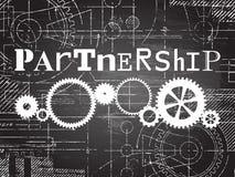 Partnership Blackboard Tech Drawing Stock Photography