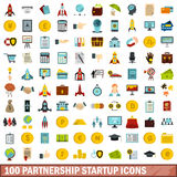 100 partnership startup icons set, flat style. 100 partnership startup icons set in flat style for any design vector illustration Stock Photos