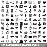 100 partnership startup icons set, simple style. 100 partnership startup icons set in simple style for any design vector illustration Vector Illustration