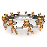 Partnership teamwork business process workers turning gear together. Team cooperation efficiency relationship community workforce concept. 3d render  on white Stock Image