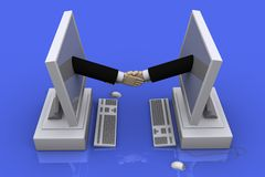 Partnership, unity, success. 3D graphics on the theme of cooperation, business and success in business Stock Photos