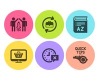 Partnership, Web shop and Time icons set. Vocabulary, Human resources and Tutorials signs. Vector. Partnership, Web shop and Time icons simple set. Vocabulary stock illustration