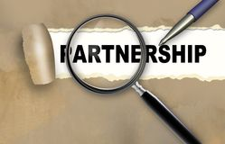 Partnership. Word partnership and magnifying glass with pensil made in 2d software vector illustration