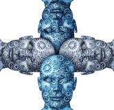 Partnership Working Together. As a team connecting their ideas together to find successful solutions with four human head shapes made of gears and cogs isolated Stock Photo