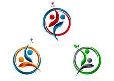 Partnerstwo, logo, gwiazda, sukces, ludzie, symbol drużynowy, zdrowy, edukacja, wektor, ikona, projekt Zdjęcie Stock