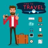 Partons voyage Touriste avec l'instrument pour le voyage Conception de personnages illustration de vecteur