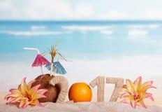 Partorange invece numera nel 2017 0, noce di cocco, fiori contro il mare Fotografie Stock Libere da Diritti