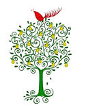 Partridge in a Pear Tree. Christmas illustration of a colorful red partridge in a pear tree isolated on white Stock Photography
