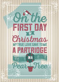 A partridge in a pear tree illustration Stock Image