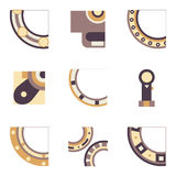 Parts of bearing colored icons Stock Images