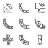Parts of bearing line icons Stock Image