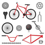 Parts of BMX bike off-road sport bicycle used for racing. And stunt riding. Vector illustration of details for motocross vehicle royalty free illustration