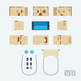 Parts of the cardboard virtual reality headset Stock Images