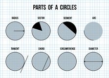Parts of a circles on math paper background Royalty Free Stock Photos