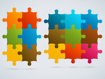 Parts of colorful puzzles. Set of 9, 6 vector piec Royalty Free Stock Photo
