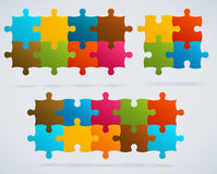 Parts of colorful puzzles. Set of 8, 4, 10 vector  Royalty Free Stock Photography